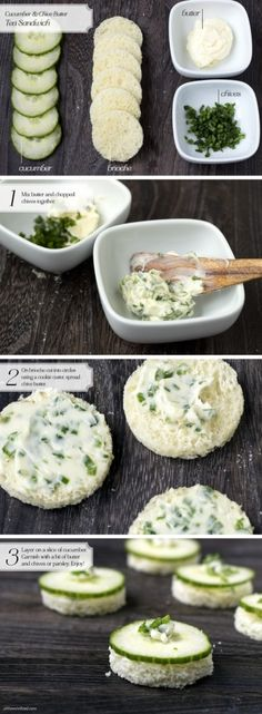 Tea Sandwich: Cucumber & Chive Butter = afternoon tea @Eileen Vitelli Vitelli Walsh - Step by step cucumber sandwiches.