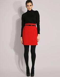 Red skirt with black everything else
