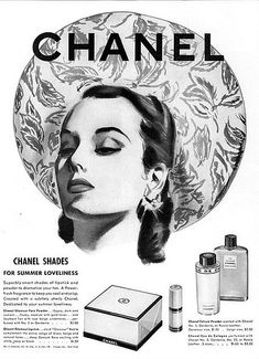Chanel face powder and lipstick, 1941 Perfume Ad, Cosmetics & Perfume, Vintage Perfume, Vintage Chanel, Vintage Couture, Perfume Bottles, Coco Chanel, Chanel Beauty, Beauty Ad