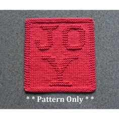 JOY Christmas knit dishcloth pattern by Aunt Susan's Closet.