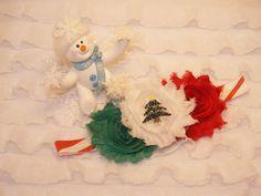Christmas Flower Headband Shabby Flower by KarolinaDesigns on Etsy