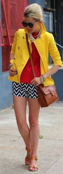 Yellow Crop Trench and chevron shorts. perfect mix of colors and patterns