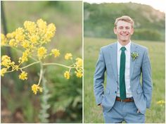 Groom in light blue suit and green tie in a grass field in the mountains | Brigham City Temple and Mantua Mountain Formal Session | Jessie and Dallin Photography    #brideandgroomportraits  #brighamcity #utahwedding #utahweddings #utahweddingphotographer #utahweddingphotography #utahbride #brideandgroom #weddingday #mountainwedding #rockymountainwedding #rockymountainbride #utahmountains #adventurewedding #groom #groomstyle #groomportrait Brigham City Temple, Light Blue Suit, Wedding Art, Wedding Flowers, Celebrity Travel, Utah Wedding Photographers, Groom Style, Groom And Groomsmen, Wedding Attire
