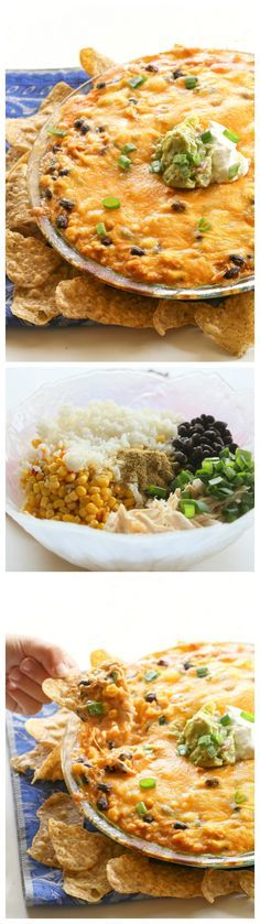 Chicken Burrito Dip - all of the flavors of your favorite burrito in dip form. www.the-girl-who-ate-everything.com