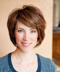 Short layers like this on top but a line bob for the rest that goes a little past the chin