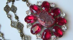 Vintage Czech Ruby Glass Victorian Lady Cameo Pendant Necklace Vintage Signed Husar D Pendant
