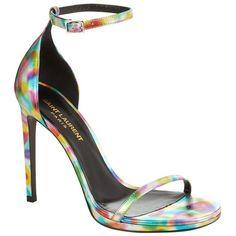Saint Laurent Jane 110 Metallic Rainbow Sandal ($785) ❤ liked on Polyvore featuring shoes, sandals, peep toe sandals, ankle strap shoes, colorful sandals, party sandals and rainbow shoes