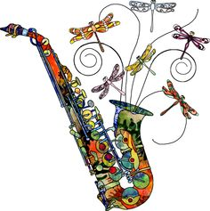 art painted sax - Google Search workout the dragonflies