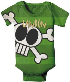 Screen printed baby onesie graphic skull
