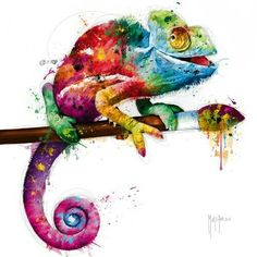 Pop Evolution Giclee Print by Patrice Murciano - Art for study room - Schlafzimmer Watercolor Animals, Watercolor Paintings, Watercolour, Cameleon Art, Murciano Art, Desenho Tattoo, Happy Paintings, Art Graphique, Painting & Drawing