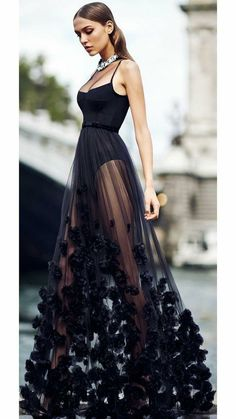 Black dresses classy - Black Spaghetti Straps See Through Evening Prom Dress – Black dresses classy Black Prom Dresses, Pretty Dresses, Beautiful Dresses, Formal Dresses, Dress Prom, Sexy Dresses, Summer Dresses, Jumpsuit Prom Dress, Wedding Dress Black