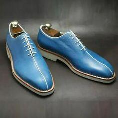 Vintage Blue Handmade Brogue Formal Shoes Trendy Mens Shoes, Formal Shoes For Men, Casual Shoes For Men, Stylish Men, Men Casual, Mens Business Shoes, Gentleman Shoes, Gentleman Fashion, Casual Leather Shoes