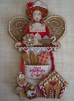 Cross Stitch Christmas ornament on plastic canvas