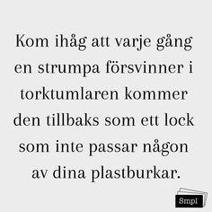@smplsweden posted to Instagram: Kom ihåg att varje gång en strumpa försvinner i torktumlaren kommer den tillbaks som ett lock som inte passar någon av dina plastburkar.   #strumpor #försvinna #lost  #lostplace #ordningochreda #smpl #organiserad enkelhet