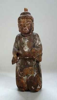 Japanese Antique Wooden Shinzo Statue