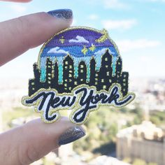 New York City, NYC, Iron On, Embroidered Applique, Wildflower + Co. DIY ………………………………….………………………………….…………………….. Our New York City patch is perfect as a souvenir or to declare your love for this awesome city that never sleeps. Evening skyline sparkles against a gorgeous sunset.