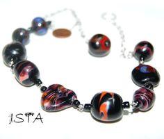 Necklace  beads. The fiery heart. Lampwork. от LighterISTA на Etsy