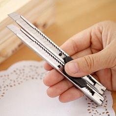 De metal de acero inoxidable de arte de papel de corte de corte cuchilla cuchillo abrecartas papelería bolígrafo para la escuela oficina herramienta