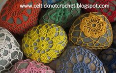 Crochet covered rocks for sale at the Currier Museum of Art by Jennifer E Ryan - 2013
