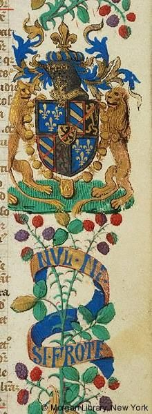 """NUL NE SI FROTE Literary, France, between 1400 and 1450 [Morgan MS M.332 fol. 4r] """"Scroll inscribed with motto of Antoine de Bourgogne NUL NE SI FROTE. Escutcheon with heraldry of Antoine de Bourgogne surmounted by helm, decorated with collar of the Order of St. Michael and supported by two lions."""""""