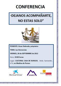 21/09/2012. Día Mundial del Alzheimer. En el Centro Cultural Caja Burgos de Medina de Pomar. Conferencia sobre Las Demencias