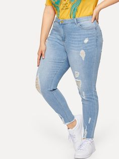 be09468cf14 Plus Drawstring Waist Ripped Jeans in 2019