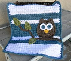 Owl Baby Blanket Lovey Size Boy Baby Shower Gift Blue by abbycove, $25.00