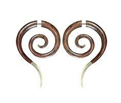 Split expander earrings- Wooden Faux expander earrings- Brass spiral earrings- Faux spiral gauge. by Tribal jewelry wholesale