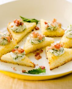 polenta triangles with herbed ricotta & bacon