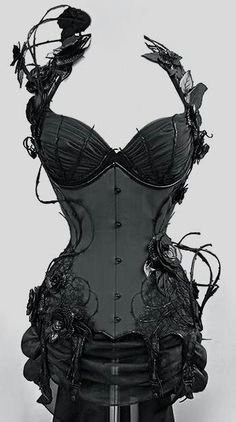 Black vine Corset via @Phyrra #alternativefashion #corset #goth