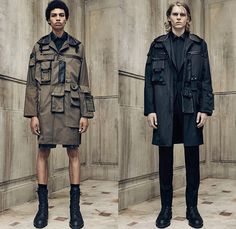 Balenciaga 2016 Spring Summer Mens Lookbook Presentation - Paris Fashion Week Mode Masculine France - Outerwear Trench Coat Anorak Parka Cargo Utility Pockets Shorts Boots Military Monochromatic Pants Trousers Fanny Pack Waist Pouch Belt Bag Multi-Panel Panels Buttons Zipper Knit Tank Top Necklace Bomber Jacket Blazer Peacoat Reptile Snake Snakeskin Duffel Backpack Bag