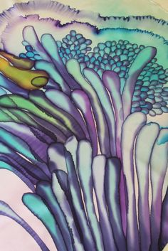 "Image of ""Underwater bunch"" hand-painted silk scarf by Asta Masiulyte"