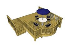 This deck uses an interesting curved bay that projects across the front of the deck like the bow of a ship. The areas of the deck are expressed in a very formal relationship. Proportion and symetry are emphasized throughout the design. Wood Deck Plans, Free Deck Plans, Deck With Pergola, Pergola Kits, Deck Cost Calculator, New Deck, Decks And Porches, Pool Decks, Building A Deck