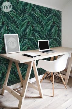 Monstera leaf Removable Wallpaper Tropical self adhesive