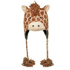 Adorable knitted giraffe hat from the hats section of www.giraffethings.com
