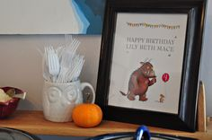 a little illustrator magic and a Happy Birthday sign to go on the table Gruffalo Party, Happy Birthday Signs, Illustrator, Lily, Party Ideas, Magic, Table, Painting, Painting Art