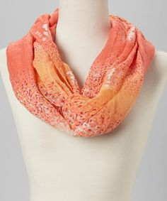 Look what I found on #zulily! Coral Leopard Sequin Infinity Scarf by Capelli New York #zulilyfinds