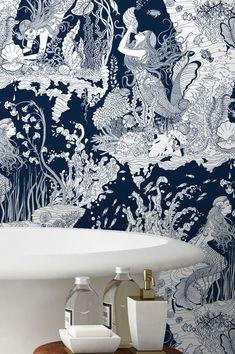 Wallpaper Mermaids dark blue