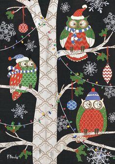 "Holiday Owls Primitive Garden Flag Christmas Birds Ornaments 12.5"" x 18"" #BriarwoodLane"