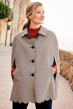 Shop Talbots for modern classic women's styles. You'll be a standout in our Plaid Scallop Cape - only at Talbots! Work Wardrobe, Fall Wardrobe, Spring Jackets, Classic Style Women, Poncho Sweater, Fall Collections, Talbots, Outerwear Jackets, Fall Outfits