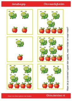 Waar zie je evenveel rupsen dan appels, waar minder en waar meer? [kleuteridee.nl]