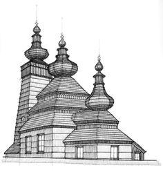 Lemko wooden church in Kwiaton, Poland, close to Western Ukraine - Church of St. Paraskeva, 1743 (Drawn by Dave Melnychuk)