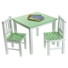 Lipper Kids Small Green/White Table and Chair Set - 513GR