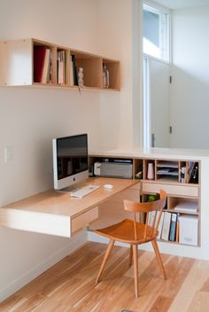 Maple plywood built in office furniture. Desk and storage bookcase with dividers…