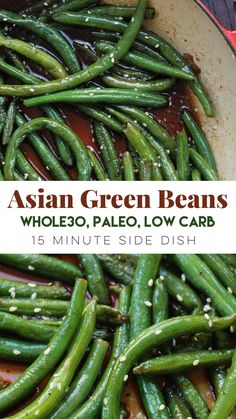 Asian Green Beans: A Paleo and Veggie You'll Love! - Whole Kitchen Sink Wholesome Yum wholesomeyum * Keto Low Carb Veggie Recipes * Simple but tasty vegetable side dish! These green beans are an easy paleo side dish to go with any mea Paleo Side Dishes, Dishes To Go, Vegetable Sides, Vegetable Side Dishes, Vegetable Recipes, Asian Side Dishes, Dinner Dishes, Low Carb Chili, Paleo Whole 30