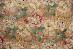 Wonderful Antique French fabric c1890 ~ Belle Epoque design ~ large scale floral material ~ www.textiletrunk.com