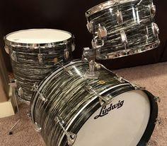 1966 Ludwig Oyster Black Pearl. All original. 22, 13, 16. Nearly mint. Un-Beatle-lievable!