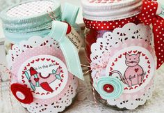 DIY Valentine Love Jars Tutorial...so sweet and east to make, can be filled with almost anything!