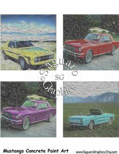 Mustangs Concrete Paintings Altered Art - Coasters Artwork, 4.0 inch Squares…