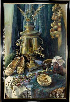 Купить или заказать Натюрморт с самоваром. в интернет-магазине на Ярмарке Мастеров. Натюрморт написан с натуры в сине-золотой гамме.